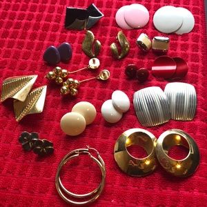 Antique costume jewelry ~Pierced earring bundle